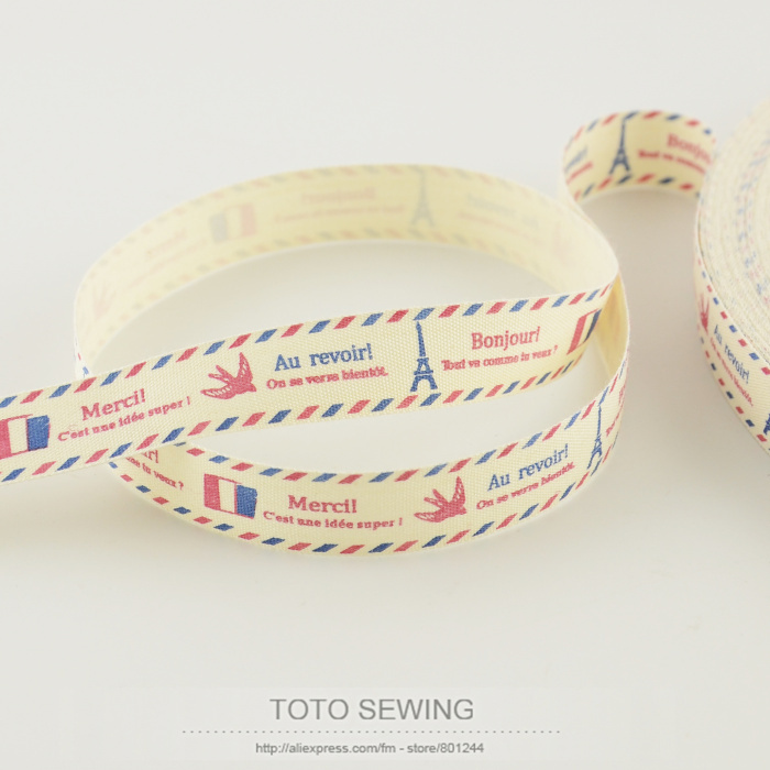 1.5CM width new arrivals mini.order is $5(mix order) Zakka cotton ribbons TOTO sewing accessory free shipping Eiffel tower label