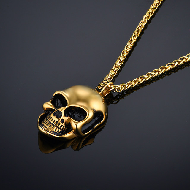 Online shop skeleton skull necklaces pendants mens gothic punk skeleton skull necklaces pendants mens gothic punk male gold color stainless steel chains necklace for men jewelry aloadofball Image collections