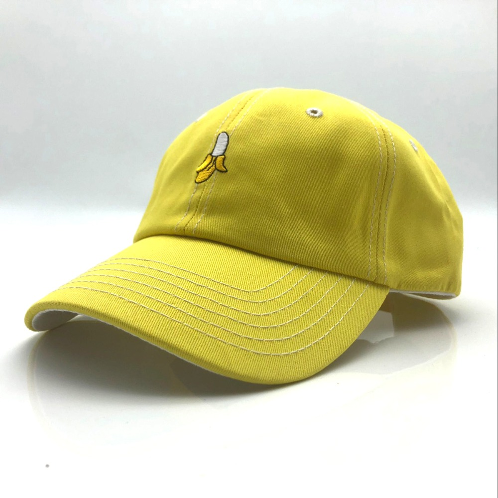 2018 New Pure color cotton cap Banana fruit embroidery baseball cap fashion men and women adjustable adult sunscreen hip hop hat