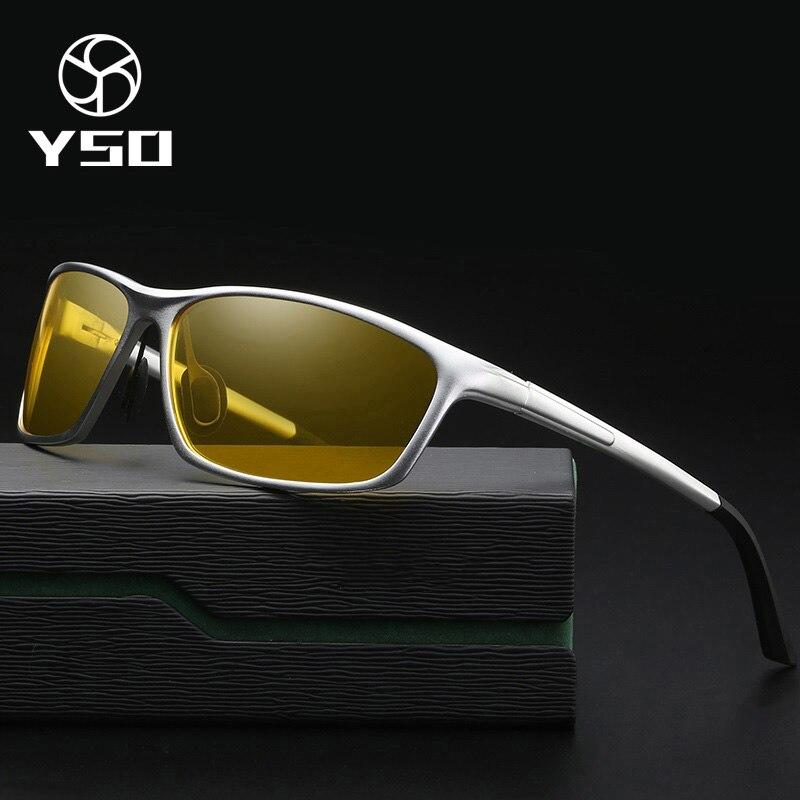 YSO очки ночного видения, мужские очки из алюминиево-магниевого сплава с поляризационными стеклами, очки ночного видения для вождения автомо...
