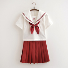 Japanese Girls Red JK Sailor Suit Cosplay School Uniforms Short Sleeve T Shirt Preppy Style College Skirt Female Costume Set