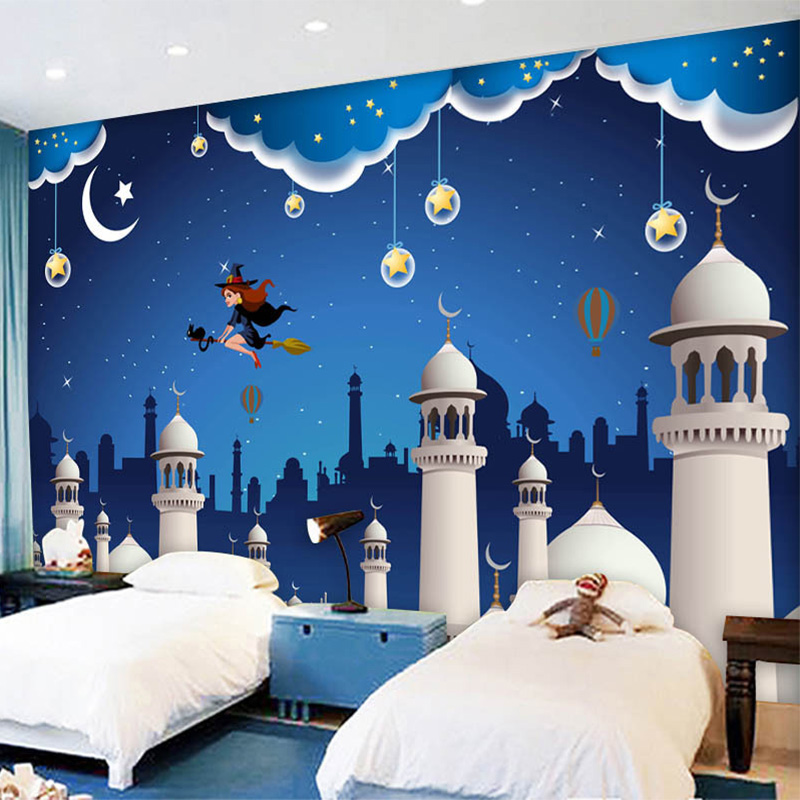 aliexpresscom buy custom any size mural wallpaper 3d blue cartoon castle childrens room backdrop wall decor wall covering papier peint enfant 3 d from - Blue Castle Decor