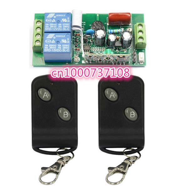 AC220V 2CH Remote Control Switch Transmitter 1Receiver 315/433MZH With Relay Indicator Learning Code remote control switches dc 12v 2ch receiver long range remote control transmitter 50 1000m 315 433 rx tx 2ch relay learning code