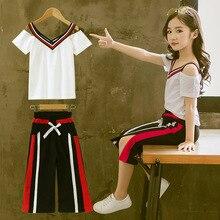 موضة صيف فتاة ملابس مراهق 2019 طفل مجموعة 2 قطعة أبيض T قميص بنطال ذو قصة أرجل واسعة أطفال ملابس وتتسابق بدلة رياضية للبنات