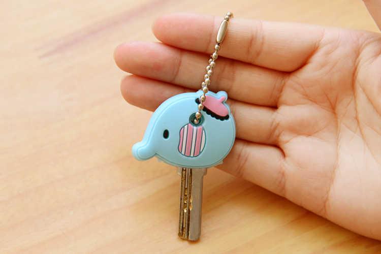 Cartoon Anime Nette Schlüssel Abdeckung Kappe Silikon Mickey Stich Bär Keychain Frauen Geschenk Eule Porte Clef Minne Schlüssel Kette
