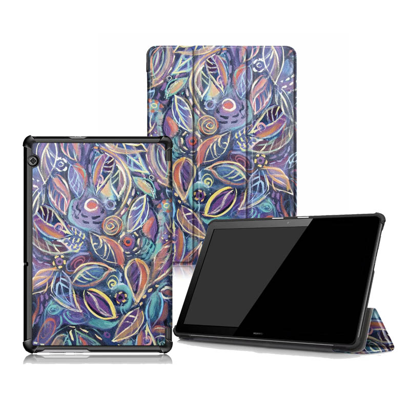 10.1 Folding Print Cover For Huawei Mediapad T5 10 Luxury Slim Stand PU Case Protector Tablets 30PCS/Lot