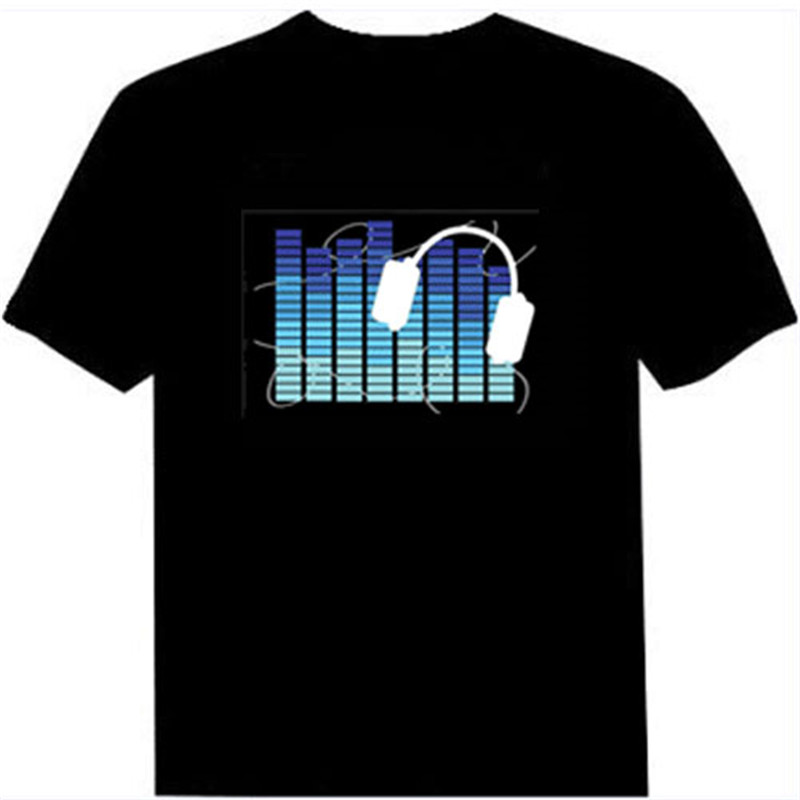 Hot Sale Led Sound Activated T Shirts Light Printed T-Shirt Men for Rock Disco Party DJ Top Tee