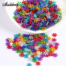 40g/bag ABS Bright Multicolor Six Petals Snowflake Electroplating Beads For Needlework Slime Crystal Mud Filler Handmade Craft meideheng acrylic circle beads transparent electroplating slime crystal mud filler ornament accessories for hair ring needlework