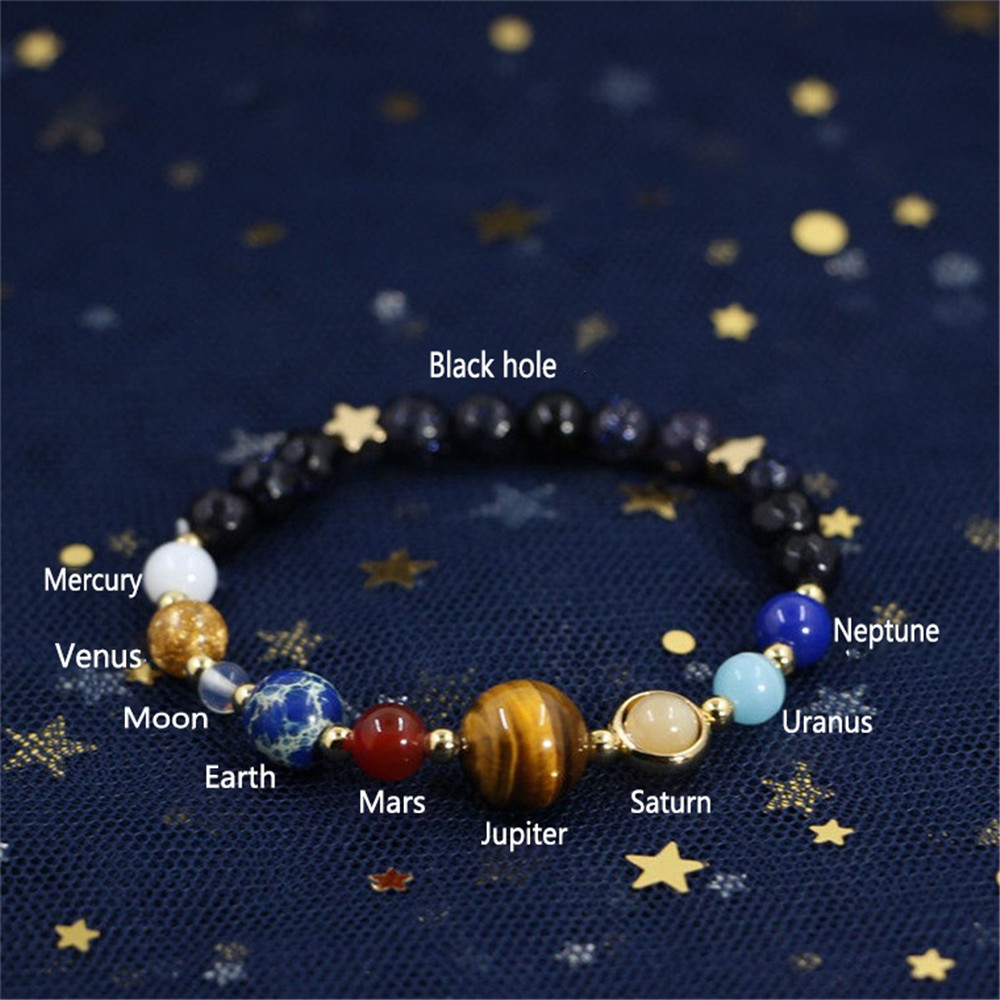 Handmade Universal Galaxy Guardian Star Eight Planets Blue Sandstone Bracelets Solar System Reiki Jewelry Gift For Women Or Men
