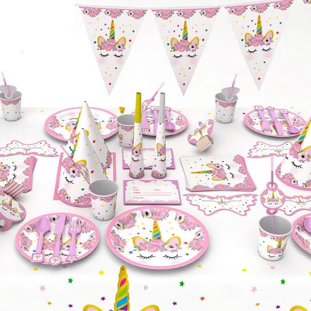 Unicorn Party Decoration Tableware Set Cup Plate Straws Banner Napkin 1st Birthday Girl Kids Cake
