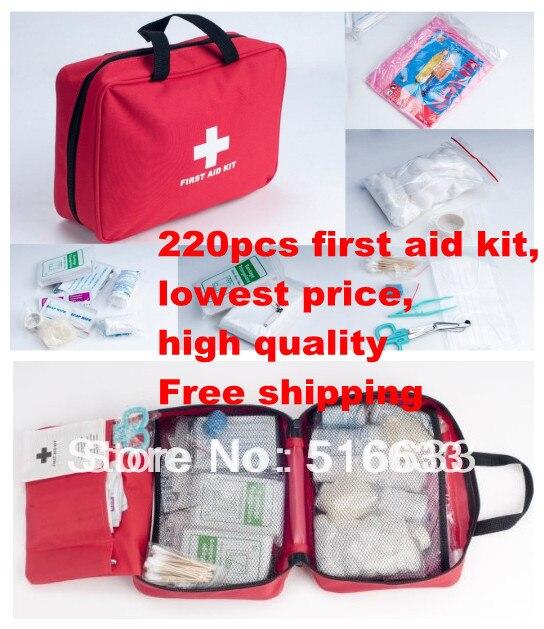 220 шт. deluxe землетрясения выживания подарок аптечка бесплатная доставка FDA, CE и ISO13485 утвержден