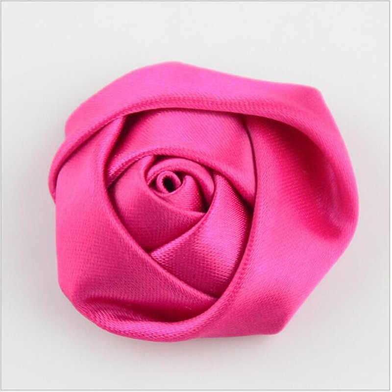 5 Pcs/lot DIY Buatan Tangan Diameter 3.5 Cm Satin Rose Buatan Bunga Pita untuk Membuat Bridal Bridesmaid Dekorasi Pernikahan