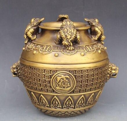 Pot de crapaud doré classique en laiton chanceux