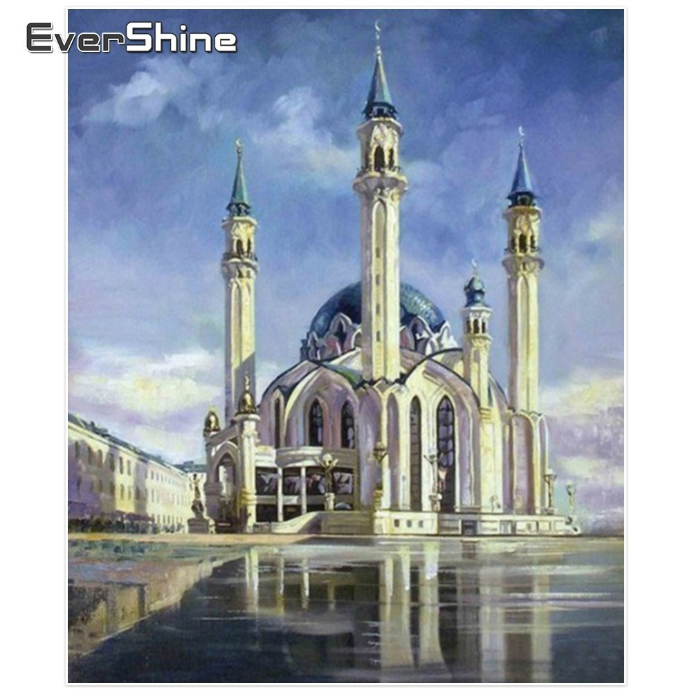 EverShine Diamond Vez džamija Cijeli setovi Square Diamond Slikarstvo Religija Slika Rhinestone Diamond Mosaic Gift Decor