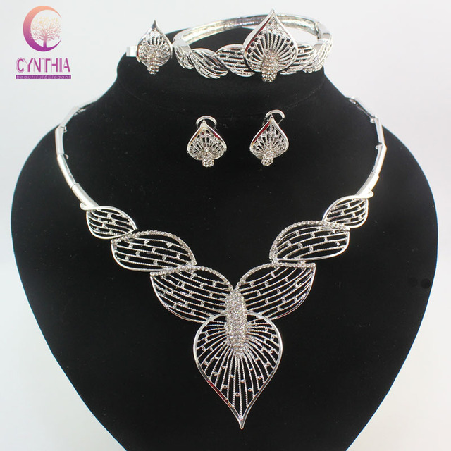 a9321c0c25c Luxury Mosaic crystal Silver Colors jewelry fashion Women dubai jewelry  sets necklace Earrings Rings Bangle party gift