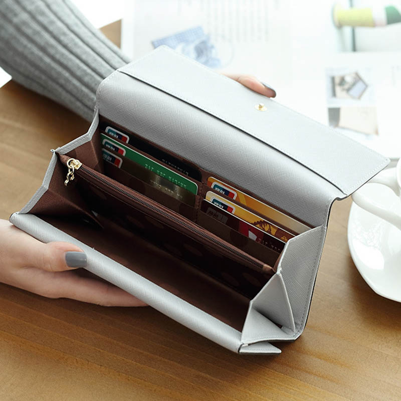 Women's Wallet Women Purse Leather Gray Long Passport Cover Bolsa Feminina Purse For Ladies Coin Purse Card Holder