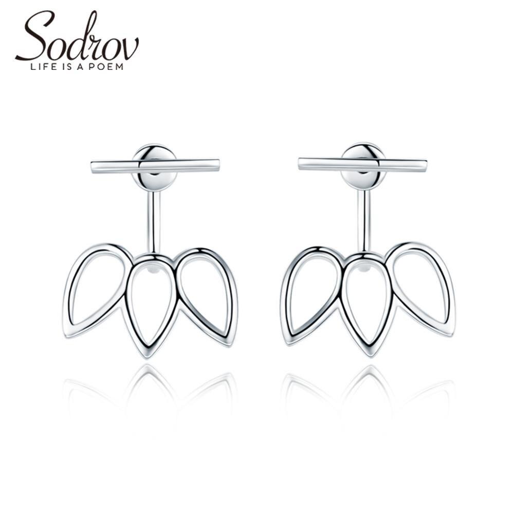 SODROV 925 Sterling Silver Stud Earrings for Women Geometric Individuality Earrings Fine Jewelry