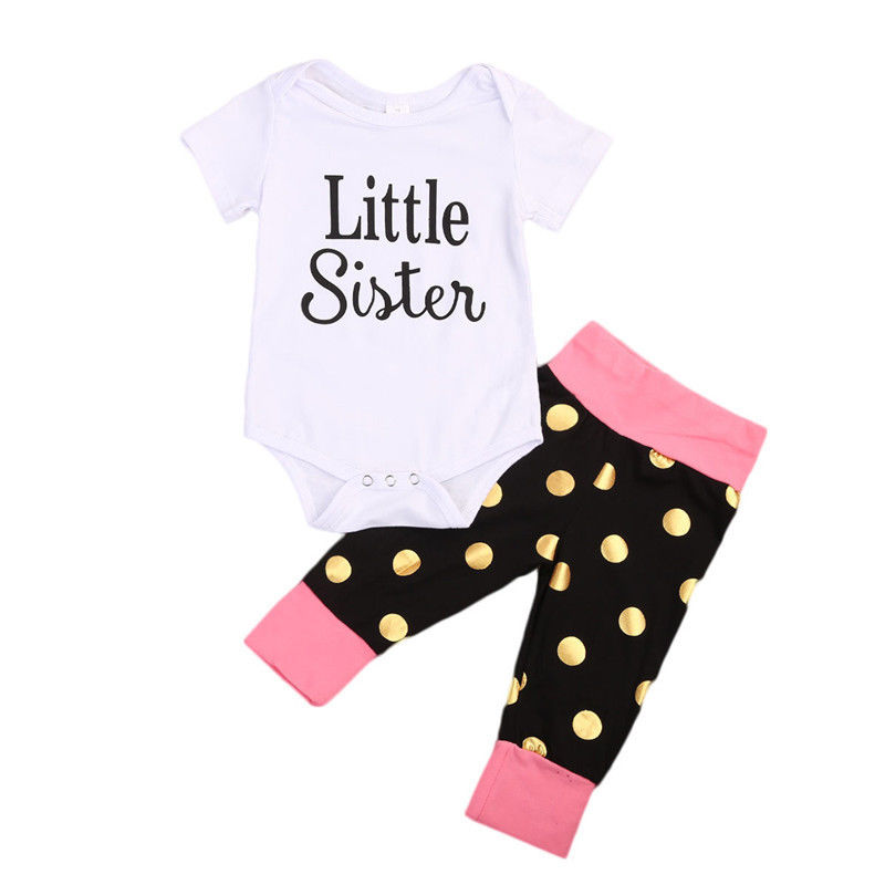 Newborn Baby Girls Clothes Little Sister Short Sleeve Romper Long Pants Big Sister T-shirt Long Pants Outfits