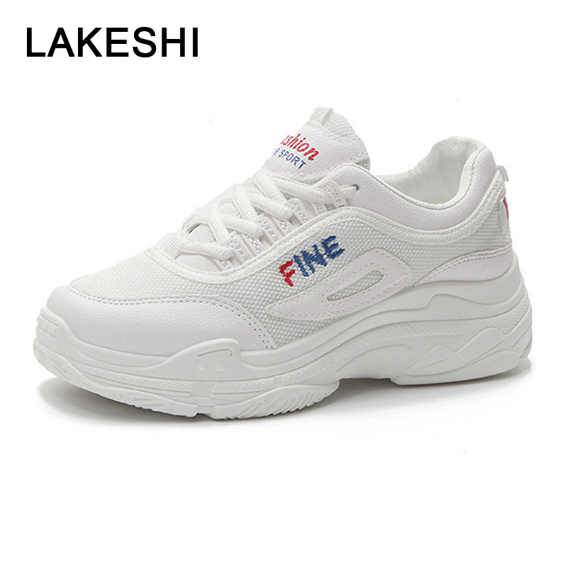 Women Lace Up Vulcanized Shoes Fashion Breathable Mesh Sneakers Women Platform Casual Shoes White Sneakers Flat Ladies Shoes summer casual shoes platform shoes white shoe women breathable mesh cloth lace up increased within students thin shoe