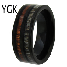 YGK Wedding Jewelry Deer Antler& Wood Inlay Black Pipe Tungsten Rings for Men's Bridegroom Wedding Engagement Anniversary Ring ygk jewelry police ring cop ring blue with silver bevel tungsten rings for men s bridegroom wedding engagement anniversary ring