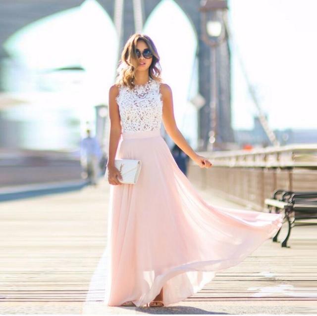 Light Pink Chiffon Skirt Zipper Waistline A Line Floor Length Long
