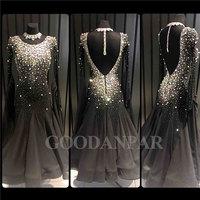Ballroom Dancing Dress Newest Design Woman Modern Waltz Tango Dance Dress standard sexy dress black Long Sleeve spandex