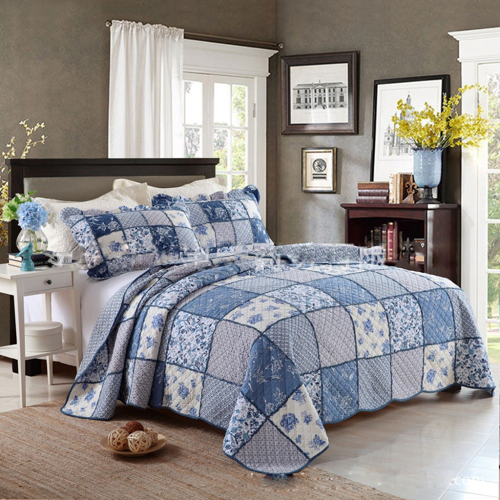 CHAUSUB King Patchwork QUILT Set 100% Cotton Quilts Bed Sheets Quilted  Bedspread Pillowcase 3PC Printed Bedding Coverlet Blue In Quilts From Home  U0026 Garden ...