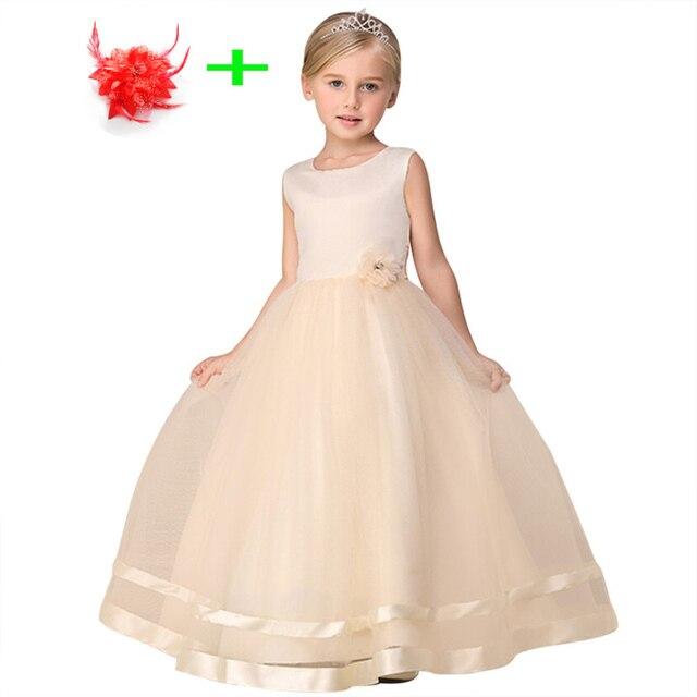 782ed805a 4-12Y بسيطة زهرة فتاة الزفاف مساء أثواب بيج الأطفال الفتيات فساتين  للمناسبات الخاصة الاطفال