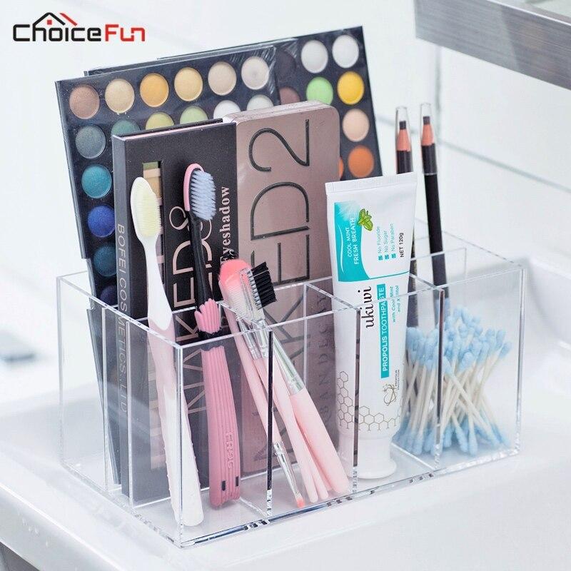 CHOICEFUN 100% ACRYLIC Clear Eyeshadow Pallete Makeup Brush Vanity Organizer Separate Desktop Acrylic Cosmetic Makeup Organizer