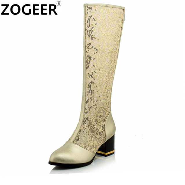 70e2cd57da2 Big size 43 Sexy Cut-out Lace Knee High Boots Women Summer Boots Sexy  Fashion Low Heels Gold White Black gladiator Ladies Shoes