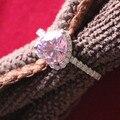 Royal Design 2Ct Romántica Forma de Corazón de Color Rosa Mujer Anillo de Compromiso Sólido 18 K de Oro Blanco 750 Joyería Anillo de Promesa