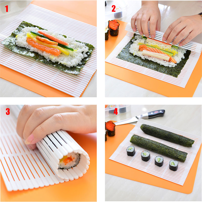 Sushi Maker Kit Rice Roll bamboo Mold Kitchen DIY Mould Roller Mat Rice Paddle MU image