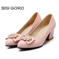 New Style Women Pumps Thick Heel Shoes Women Pointed Toe Ladies Heels Ivory Wedding Shoes Butterfly