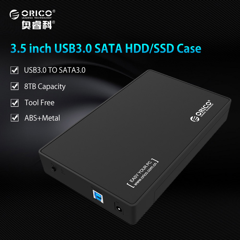 ORICO 3588US3-BK 3.5 Inch HDD Enclosure Case USB 3.0 5Gbps to SATA Support UASP and 8TB Drives Designed for Notobook Desktop PC