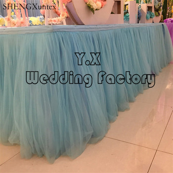 Sky Blue Color Tutu Table Skirt For Wedding Table Cloth Decoration