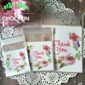 "100pcs 3 Sizes "" thank you "" with Flower Pattern Self Adhesive Seal Packing Bag Wedding Candy and Snack Food Packaging Bag B158"