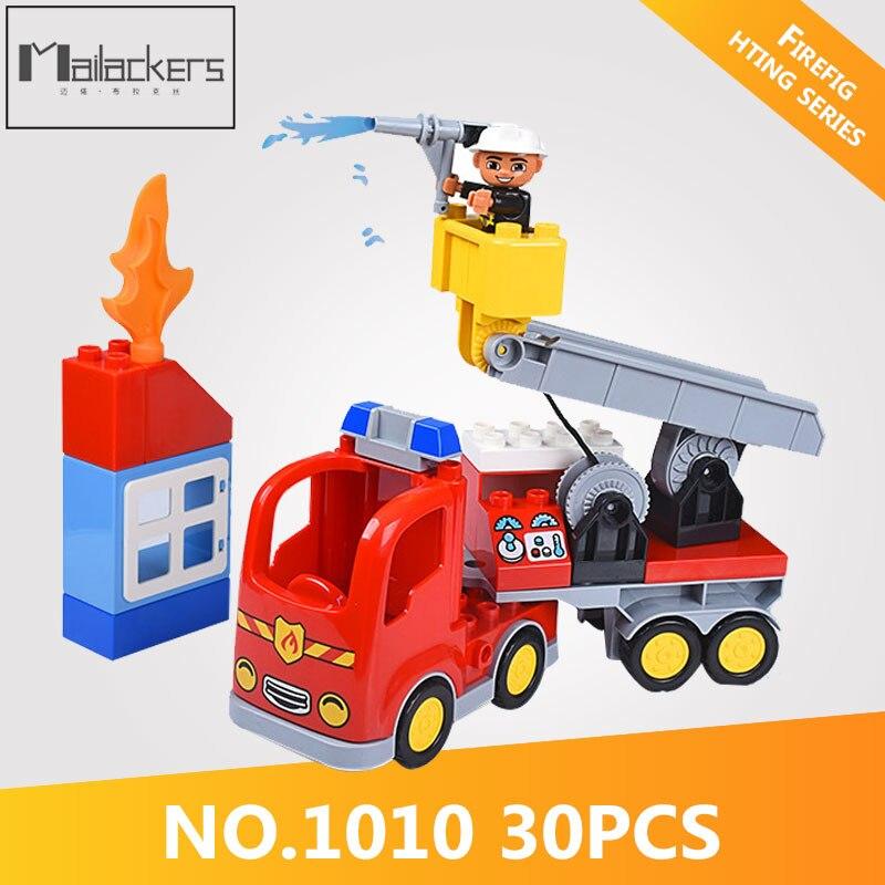 Disciplined Mailackers Ggl 1010 30pcs Legoing Duplo City Fire Rescue Truck Model Building Block Figures Brick Diy Toys For Children Legoings Model Building