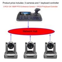 3pcs 12x zoom RTMP streaming video conference ip hdmi 3g sdi ptz camera plus 1pcs 5inch 3D joystick network keyboard Controller