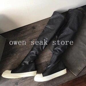 Image 3 - Owen Seak Botas deportivas de piel de oveja hasta la rodilla para hombre, botas de invierno informales, bailarinas para nieve, color negro, talla grande