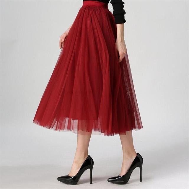 Otoño nueva moda estilo coreano faldas swing grande maxi jupe faldas invierno de las mujeres de cintura alta tutu adultos falda larga de tul