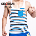 SEOBEAN New Men's summer fashion cotton striped slim tank top