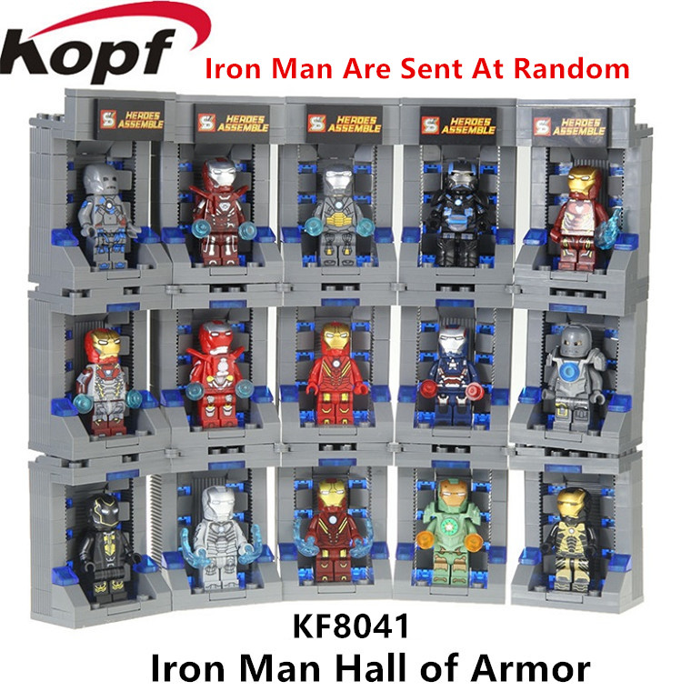 Super Heroes Building Blocks Figures Iron Man Hall of Armor Assemble Invincible Set Christmas Toys Gift For Children SY1169-1 недорго, оригинальная цена