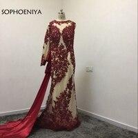 New Arrival One shoulder Long sleeve Evening dresses 2018 Lace Appliques Arabic Formal dress Evening party vestido de festa