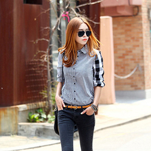 Women Retro Long Sleeve Casual Shirt Irregular Plaid Turndown Collar Top