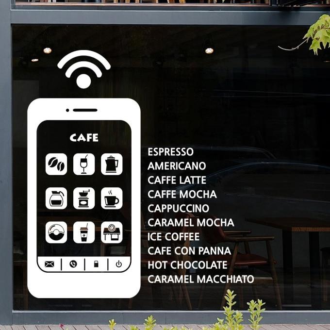 Café Sticker mural Mobile Wifi Machine à café Design café mots café Wall Sticker fenêtres de café mur de verre décoration