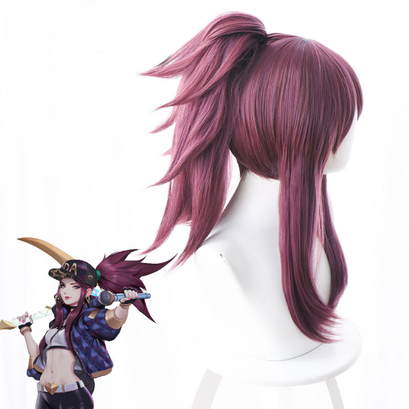 LOL New Skin K DA Cosplay Wigs Akali Cosplay Headwear Game LOL KDA 45CM Mixed purple Heat Resistant Synthetic Hair Wig in Game Costumes from Novelty Special Use