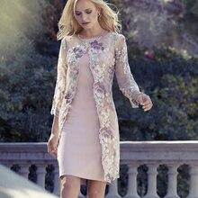 Элегантные до колена, для мамы невесты платья с жакетка кружевная Детская куртка «Лодочка» на шее, украшенное цветком свадебное платье размера плюс