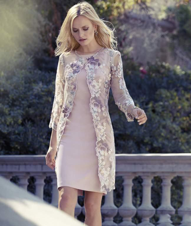 Elegant Knee Length Mother Of The Bride Dresses With Lace Jacket Bateau Neck Flower Sheath Wedding Guest Dress Plus Size