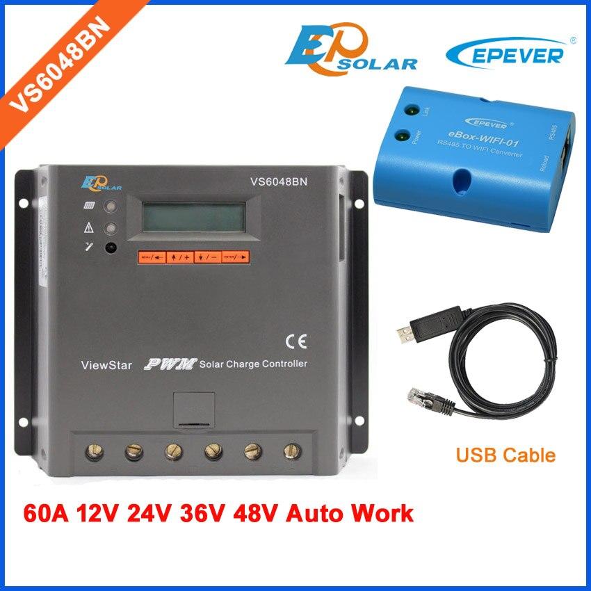 PWM Solar Voltage 12v 24v 36v 48v controller VS6048BN 60A 60amp EPsolar brand high quality USB cable+wifi BOXPWM Solar Voltage 12v 24v 36v 48v controller VS6048BN 60A 60amp EPsolar brand high quality USB cable+wifi BOX