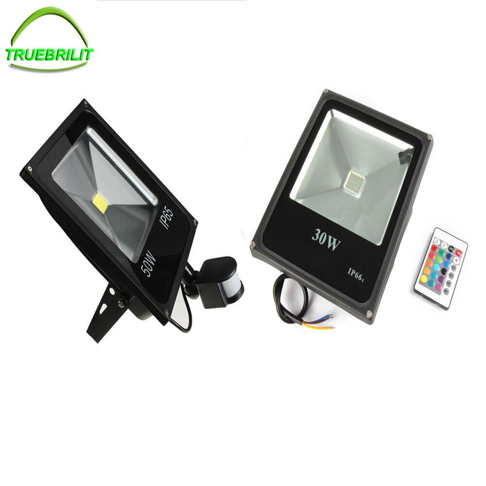LED Floodlights RGB Remote 24key Controller 10W 20W 30W 50W Waterproof IP65  PIR Motion Sensor Flood Lamps Outdoor  110v 220v